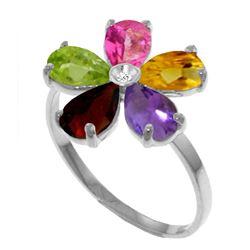 Genuine 2.22 ctw Pink Topaz, Citrine & Amethyst & Diamond Ring Jewelry 14KT White Gold - REF-35Z9N
