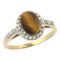 Natural 1.16 ctw Tiger-eye & Diamond Engagement Ring 10K Yellow Gold - REF-24X6A