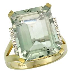 Natural 12.13 ctw Green-amethyst & Diamond Engagement Ring 10K Yellow Gold - REF-55G8M