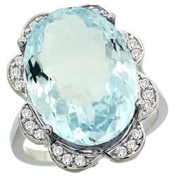 Natural 13.83 ctw aquamarine & Diamond Engagement Ring 14K White Gold - REF-284N9G