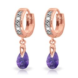 Genuine 1.37 ctw Amethyst & Diamond Earrings Jewelry 14KT Rose Gold - REF-34A3K