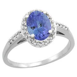 Natural 1.43 ctw Tanzanite & Diamond Engagement Ring 10K White Gold - REF-48R5Z