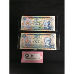 1972 and 1979 $5 Bank of Canada Notes in Sleeves