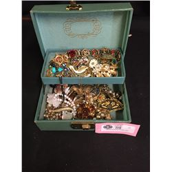 Small Vintage Jewelry Box Filled with Vintage Jewelry