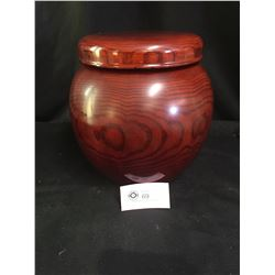 """Very Nice Asian Wood Food Bowl with Lid. 11"""" Tall x 11"""" Diameter"""