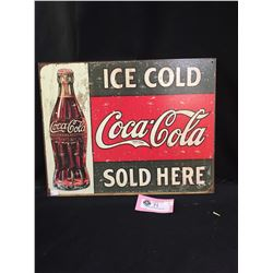 """Ice Cold Coca Cola Sold Here Tin Sign  16"""" x 12 Reproduction"""