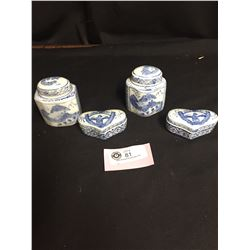 4 Pieces of Chinese Blue and White Porcelain