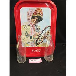 2 Vintage Coke Bottles and A Coca Cola Tray