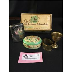 Vintage Old Tyme Chocolates Box Filled with Small Collectibles