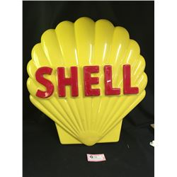"""Shell Clam Sign From the 1960's-70's. 27"""" T x 24"""" W  Made of Heavy Plastic with 2 chips"""