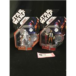 2 Star Wars Action Figures with Collector Coins New In Package. Storm Trooper and Biggs Darklighter