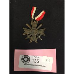 WW2 WWII Nazi War Merit Medal Second Class with Swords Swastika Scratched out DeNazified