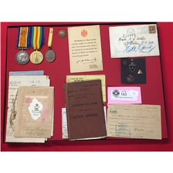 WWI Canadian War Medals with Paperwork In a Display Case