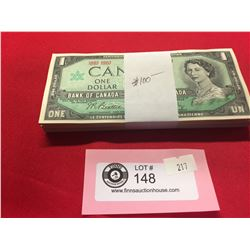One Bundle of 100 $1 1867-1967 Bank of Canada Bank Notes. Centennial Notes.Has a little Ripple in th