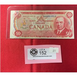 1975 Bank of Canada $50 Bank Note In Sleeve. Has the RCMP Musical Ride on Back