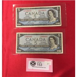2 1954 $5  Bank of Canada Banknotes in a Protective Sleeves