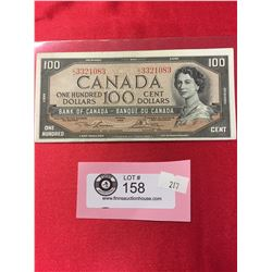 1954 $100  Bank of Canada Banknote in a Protective Sleeve