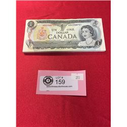 50 $1 1973 Bank Of Canada Banknotes in Sequence in Protective Holder