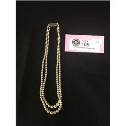 Double Strand Faux Pearl Necklace with Sterling Silver Clasp