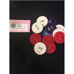 12 Vintage Poker Chips Marked N.W.