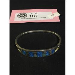 Sterling Silver Turqoise + Abalone Bracelete