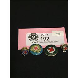 4 Vintage Red Cross Pins