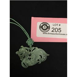 Vintage Hand Carved Jade Dragon Pendant