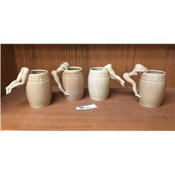 Mid Century Barrel Mugs Set of 4 With Nude Women Figural Handles Made in Japan
