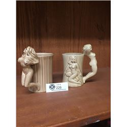 2 Mid Century Barrel Mugs With Nude Women Figural Handles Made in Japan