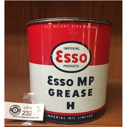 5 Pound Esso Grease Tin. Nice Clean Imperial Oil Limited Tin