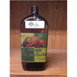 Nice Early ( 1920-30's?) Nabob Fountain Fruits and Syrup Bottle. From VANCOUVER 40oz