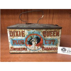 1920's Dixie Queen Plug Cut Lunch Pail Canister Style Tin 8w x 4h x 5 deep
