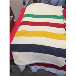Nice Big Hudson's Bay Blanket. 5 point Early Witney Point Blanket. Made in England