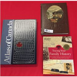 3 Hard Cover Coffee Table Books. Atlas of Canada, Reader's Digest Tracing your Family's History, Tim