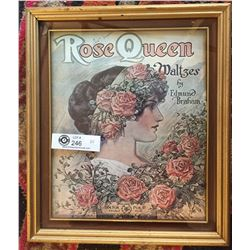 "Gold Frame with a Rose Queen Waltzes Print. 12"" x 14"""