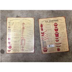 "2 Kitchen Ware Tin Signs 12"" x 15.5"""