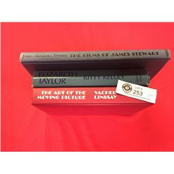 3 Hardcover Books. The Films of James Stewart, Elizabeth Taylor The Art of the Moving Pictures