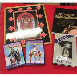"""2 Elvis Presley DVD's. Rolling Stones Book Edie Fisher Book and 15"""" x 17"""" Picture of a Juke Box"""