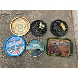 6 Vintage Serving Trays Souvenir Trays
