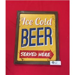 """Ice Cold Beer Served Here Sign in a Picture Frame 12"""" x 15"""""""