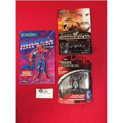 3 Miscellaneous New in Package Figures. Marvel Spiderman, Optimus Prime Key Chain, and Summer Slam S
