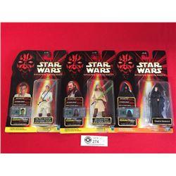 3 Star Wars Episode 1 Action Figures New In Package OBI -Wan Kenobi,Qui-Gon Jinn, Darth Sidious