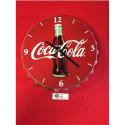 "Coca Cola Bottle Cap Battery Operated Clock 14"" Diameter"