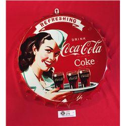 """Coca Cola Bottle Cap Sign 17"""" Diameter"""