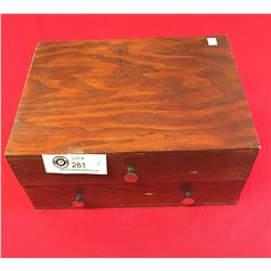 Vintage Wooden Jewelry Box with Spools of Thread/String