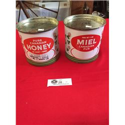 2 Vintage Pure Canadian Honey Tins. Net Wieght 4lbs, Tins are Empty