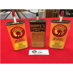 3 Vintage Oilers Hoppes Lubricating Oil