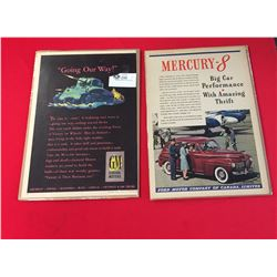 2 Automotive Advertisments from the 1940's. GM and Ford