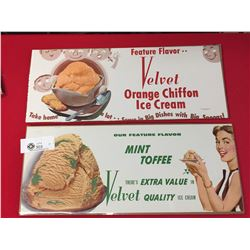 2 Original 1957 Velvet Ice Cream Paper Window Signs in Un-Used Condition