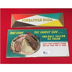 2 Original 1959 Storefront Paper Window Advertising Signs for Ice Cream